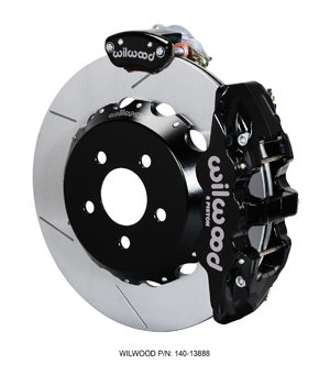 Wilwood AERO4-MC4 Big Brake Rear Parking Brake Kit - Black Powder Coat Caliper - GT Slotted Rotor