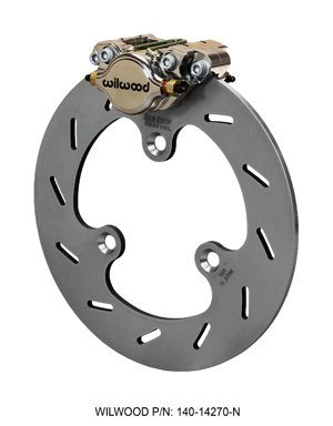 Wilwood Dynapro Single Left Front Brake Kit - Nickel Plate Caliper - Slotted Rotor