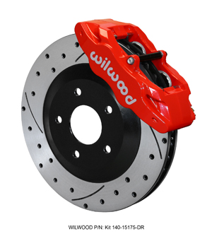 Wilwood SLC56 Front Replacement Caliper and Rotor Kit - Red Powder Coat Caliper - SRP Dimpled & Slotted Rotor