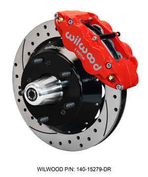 Wilwood Forged Narrow Superlite 6R Big Brake Front Brake Kit (Hub) - Red Powder Coat Caliper - SRP Drilled & Slotted Rotor