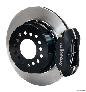 Wilwood Forged Dynalite Pro Series Rear Brake Kit - Black Anodize Caliper - Plain Face Rotor
