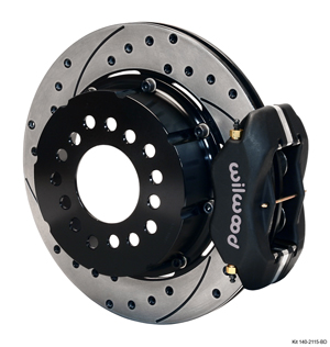 Wilwood Forged Dynalite Pro Series Rear Brake Kit - Black Powder Coat Caliper - SRP Drilled & Slotted Rotor