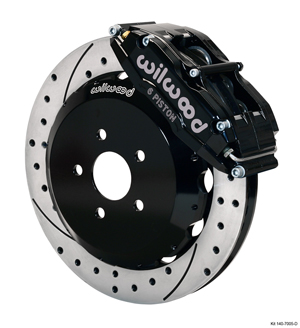 Wilwood Superlite 6 Big Brake Front Brake Kit (Hat) - Black Powder Coat Caliper - SRP Drilled & Slotted Rotor