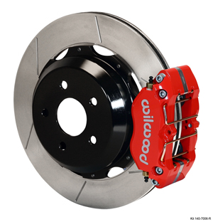 Wilwood Dynapro Rear Brake Kit For OE Parking Brake - Red Powder Coat Caliper - GT Slotted Rotor