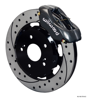 Wilwood Forged Dynalite Big Brake Front Brake Kit (Hat) - Black Anodize Caliper - SRP Drilled & Slotted Rotor