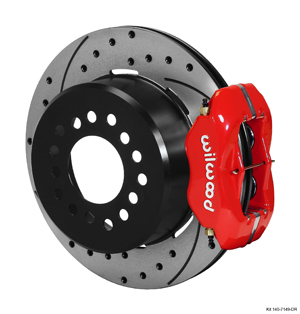 Wilwood Forged Dynalite Rear Parking Brake Kit - Red Powder Coat Caliper - SRP Drilled & Slotted Rotor