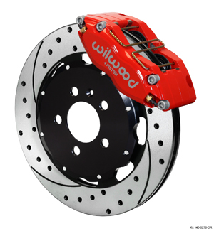 Wilwood Dynapro Radial Big Brake Front Brake Kit (Hat) - Red Powder Coat Caliper - SRP Drilled & Slotted Rotor