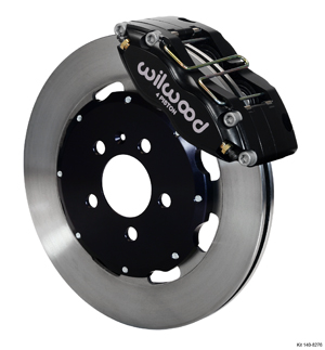 Wilwood Dynapro Radial Big Brake Front Brake Kit (Hat) - Black Anodize Caliper - Plain Face Rotor