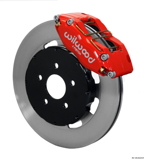 Wilwood Dynapro Radial Big Brake Front Brake Kit (Hat) - Red Powder Coat Caliper - Plain Face Rotor