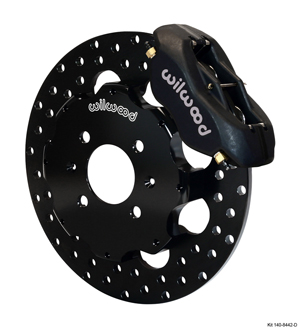 Wilwood Forged Dynalite Front Drag Brake Kit (Hat) - Black Anodize Caliper - Drilled Rotor