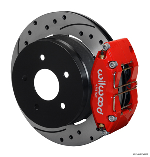 Wilwood Dynapro Radial Rear Brake Kit For OE Parking Brake - Red Powder Coat Caliper - SRP Drilled & Slotted Rotor