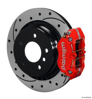 Wilwood Dynapro Rear Brake Kit For OE Parking Brake - Red Powder Coat Caliper - SRP Drilled & Slotted Rotor