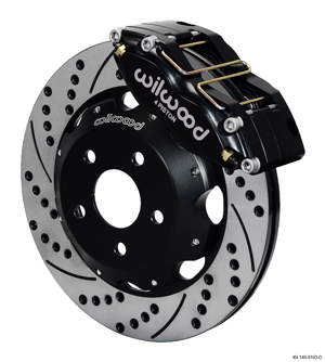 Wilwood Dynapro Radial Big Brake Front Brake Kit (Hat) - Black Anodize Caliper - SRP Drilled & Slotted Rotor
