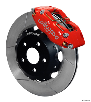 Wilwood Dynapro Radial Big Brake Front Brake Kit (Hat) - Red Powder Coat Caliper - GT Slotted Rotor