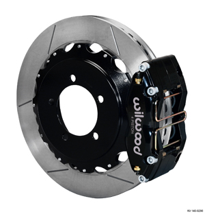 Wilwood Dynapro Radial Rear Brake Kit For OE Parking Brake - Black Powder Coat Caliper - GT Slotted Rotor