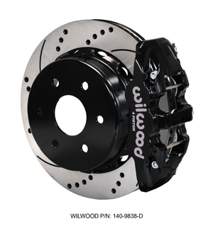 Wilwood AERO4 Big Brake Truck Rear Brake Kit - Black Powder Coat Caliper - SRP Drilled & Slotted Rotor