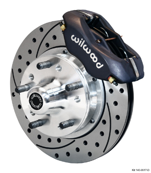 Wilwood Forged Dynalite Pro Series Front Brake Kit - Black Anodize Caliper - SRP Drilled & Slotted Rotor
