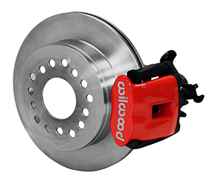 Wilwood Combination Parking Brake Caliper 1Pc Rotor Rear Brake Kit - Red Powder Coat Caliper - Plain Face Rotor