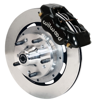 Wilwood Forged Dynalite Big Brake Front Brake Kit (Hub) - Black Powder Coat Caliper - Plain Face Rotor