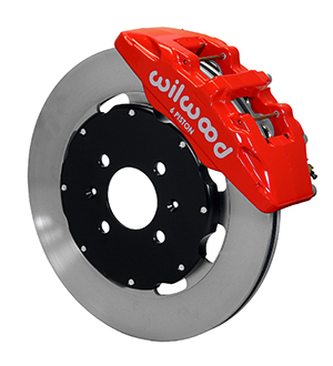 Wilwood Forged Dynapro 6 Big Brake Front Brake Kit (Hat) - Red Powder Coat Caliper - Plain Face Rotor
