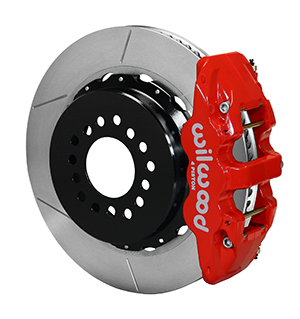 Wilwood AERO4 Big Brake Rear Parking Brake Kit - Red Powder Coat Caliper - GT Slotted Rotor