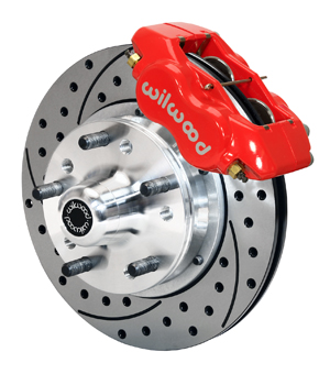Wilwood Forged Dynalite Pro Series Front Brake Kit - Red Powder Coat Caliper - SRP Drilled & Slotted Rotor