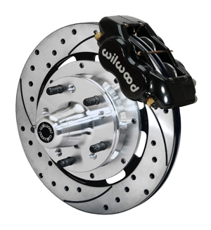 Wilwood Forged Dynalite Big Brake Front Brake Kit (Hub) - Black Powder Coat Caliper - SRP Drilled & Slotted Rotor