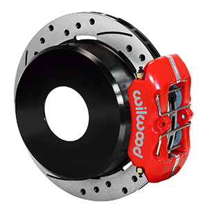 Wilwood Dynapro Low-Profile Rear Parking Brake Kit - Red Powder Coat Caliper - SRP Drilled & Slotted Rotor