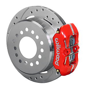 Wilwood Forged Dynapro Low-Profile Rear Parking Brake Kit - Red Powder Coat Caliper - SRP Drilled & Slotted Rotor