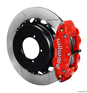 Wilwood Forged Narrow Superlite 4R Big Brake Rear Parking Brake Kit - Red Powder Coat Caliper - GT Slotted Rotor