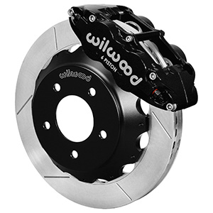Wilwood Forged Narrow Superlite 6R Big Brake Front Brake Kit (Hat) - Black Powder Coat Caliper - GT Slotted Rotor