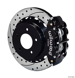 Wilwood Forged Narrow Superlite 4R Big Brake Rear Brake Kit For OE Parking Brake - Black Powder Coat Caliper - SRP Drilled & Slotted Rotor
