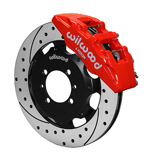 Wilwood Forged Dynapro 6 Big Brake Front Brake Kit (Hat) - Red Powder Coat Caliper - SRP Drilled & Slotted Rotor