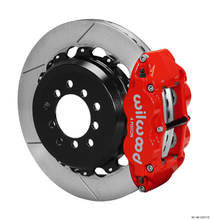 Wilwood Forged Narrow Superlite 4R Big Brake Rear Brake Kit For OE Parking Brake - Red Powder Coat Caliper - GT Slotted Rotor