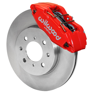 Wilwood Forged DPHA  Front Caliper and Rotor Kit - Red Powder Coat Caliper - Plain Face Rotor