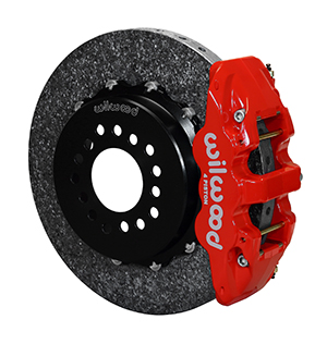 Wilwood AERO4 WCCB Carbon-Ceramic Big Brake Rear Parking Brake Kit - Red Powder Coat Caliper - Plain Face Rotor
