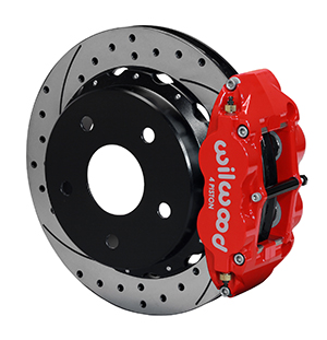 Wilwood Forged Narrow Superlite 4R Big Brake Rear Parking Brake Kit - Red Powder Coat Caliper - SRP Drilled & Slotted Rotor