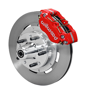 Wilwood Dynapro Dust-Boot Big Brake Front Brake Kit (Hub) - Red Powder Coat Caliper - Plain Face Rotor