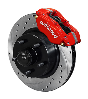Wilwood Classic Series Dynalite Front Brake Kit - Red Powder Coat Caliper - SRP Drilled & Slotted Rotor