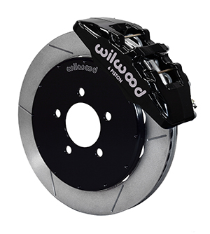 Wilwood Forged Dynapro 6 Big Brake Front Brake Kit (Hat) - Black Powder Coat Caliper - GT Slotted Rotor