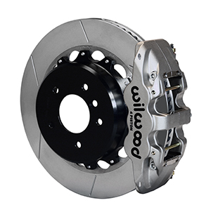 Wilwood AERO4 Big Brake Rear Brake Kit For OE Parking Brake - Nickel Plate Caliper - GT Slotted Rotor