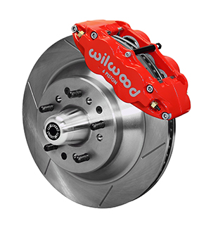 Wilwood Forged Narrow Superlite 6R Big Brake Front Brake Kit (Hub and 1PC Rotor) - Red Powder Coat Caliper - GT Slotted Rotor