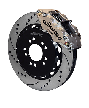 Wilwood Forged Narrow Superlite 6R Big Brake Front Brake Kit (Hat) - Nickel Plate Caliper - SRP Drilled & Slotted Rotor