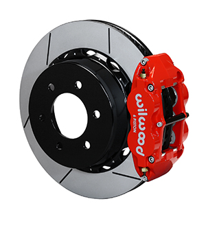 Wilwood Forged Narrow Superlite 6R Big Brake Rear Brake Kit For OE Parking Brake - Red Powder Coat Caliper - GT Slotted Rotor