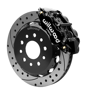 Wilwood Forged Narrow Superlite 6R Big Brake Front Brake Kit (Hat) - Black Powder Coat Caliper - SRP Drilled & Slotted Rotor
