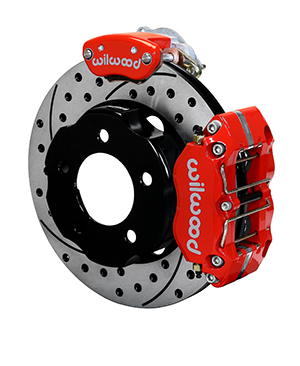 Wilwood Dynapro Radial-MC4 Rear Parking Brake Kit - Red Powder Coat Caliper - SRP Drilled & Slotted Rotor