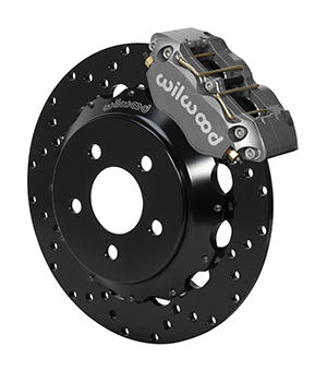 Wilwood Dynapro Radial Front Drag Brake Kit - Black Anodize Caliper - Drilled Rotor