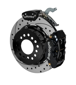 Wilwood Forged Dynalite-MC4 Rear Parking Brake Kit - Black Powder Coat Caliper - SRP Drilled & Slotted Rotor