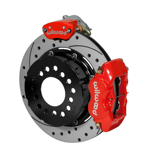 Wilwood Forged Dynalite-MC4 Rear Parking Brake Kit - Red Powder Coat Caliper - SRP Drilled & Slotted Rotor