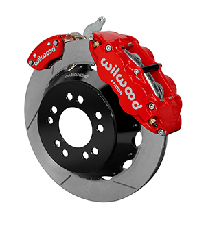 Wilwood Forged Narrow Superlite 4R-MC4 Big Brake Rear Parking Brake Kit - Red Powder Coat Caliper - GT Slotted Rotor